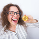 Happy woman showing Golden Bitcoin coin. Virtual money concept. Cryptocurrency - PhotoDune Item for Sale