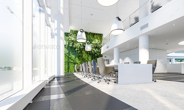 Meeting Room With Garden Wall In Office Center - Architecture 3D Renders
