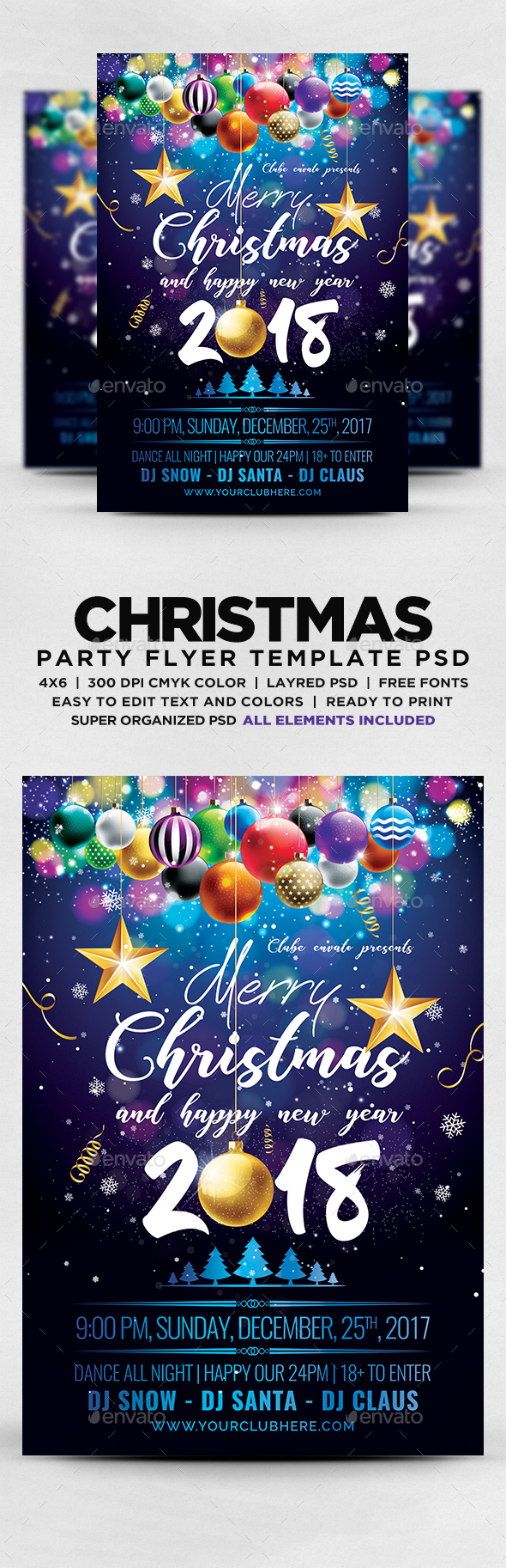 GraphicRiver Christmas And New Year 2018 Flyer 20976133