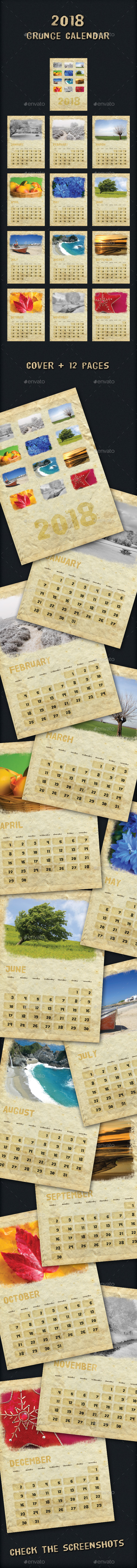 2018 Grunge Calendar - Calendars Stationery