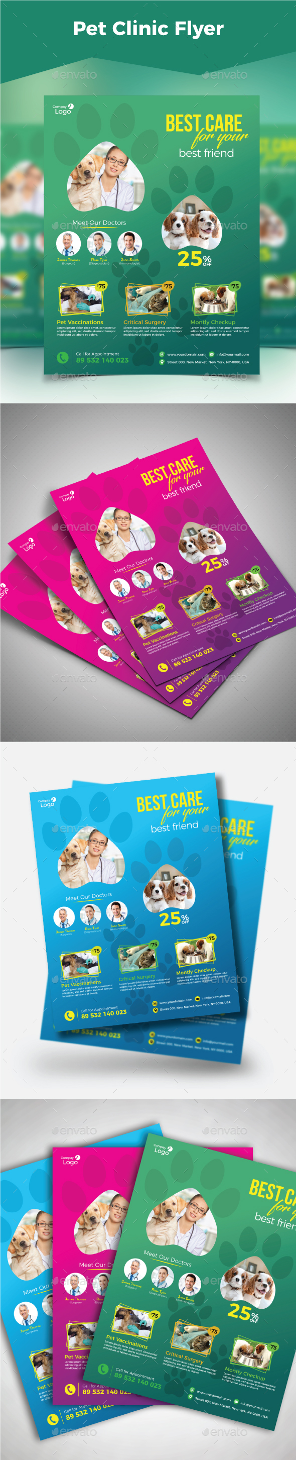 Pet Clinic Flyer - Flyers Print Templates