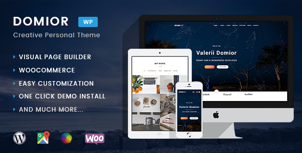 ThemeForest Domior Creative Personal Portfolio WordPress Shop Theme 20710181