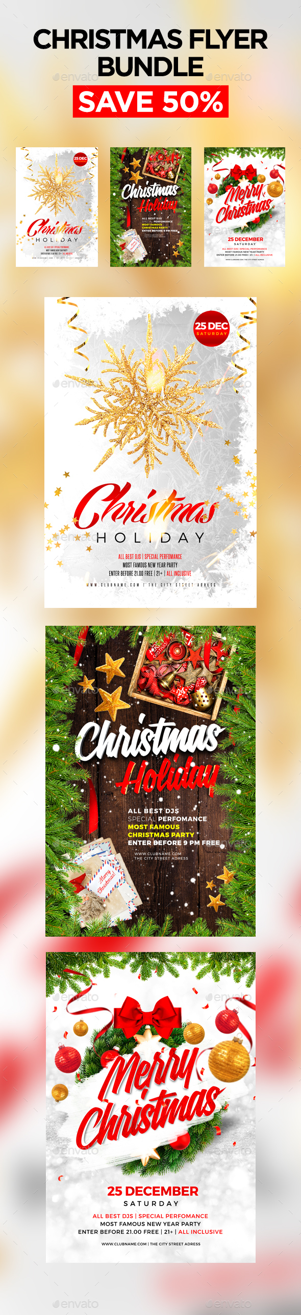 Merry Christmas Flyer Bundle 2 - Clubs & Parties Events