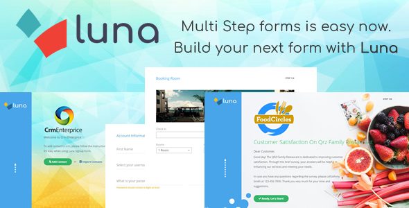 Luna Multi Step Form. E-commerce, Questionnaire, Reservation, Service - CodeCanyon Item for Sale
