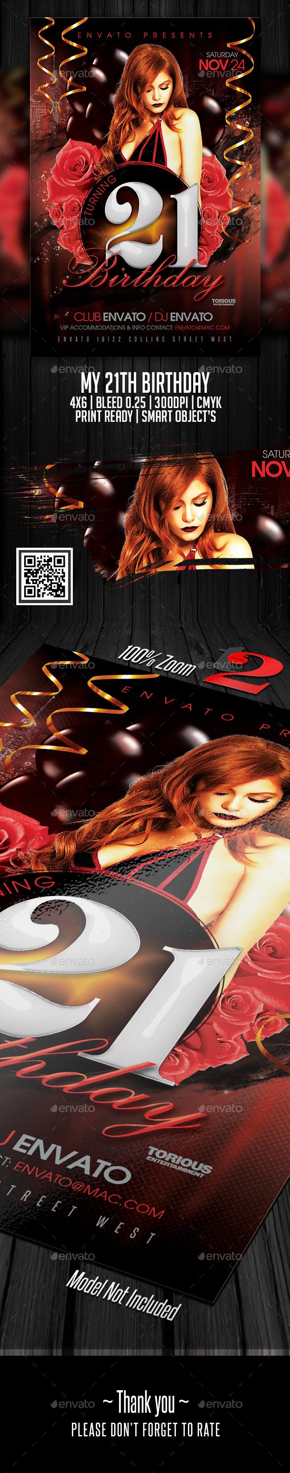 My 21th Birthday Flyer Template - Clubs & Parties Events