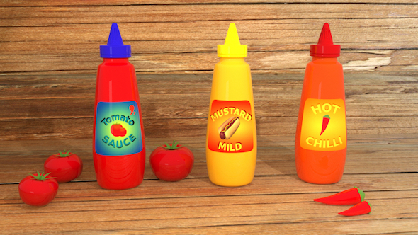 3DOcean Sauce Bottle with labels 20976826