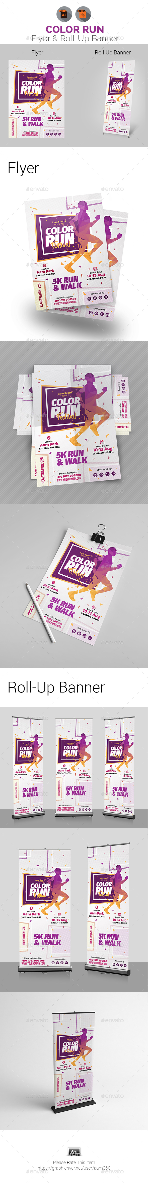 GraphicRiver Color Run Festival Flyer & Roll-Up Banner 20976845