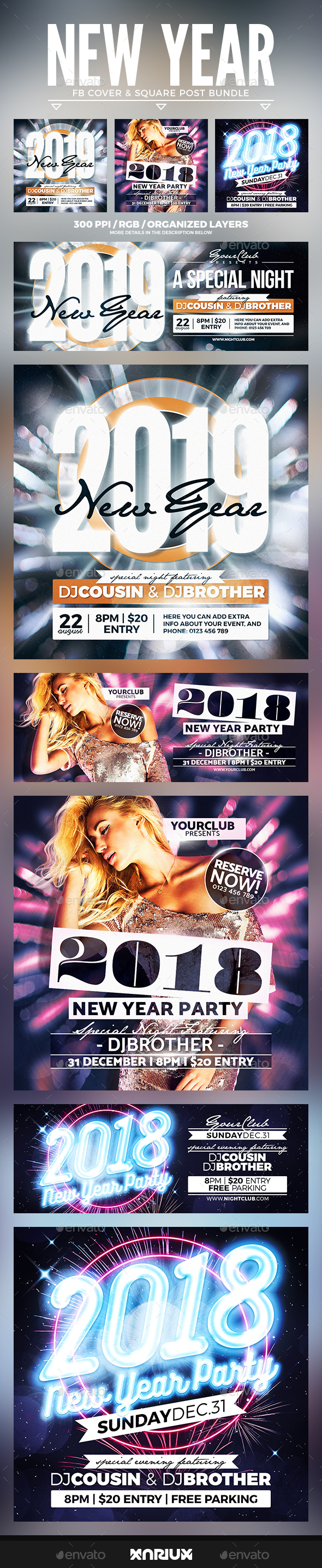 GraphicRiver New Year Facebook Cover Bundle 20976850