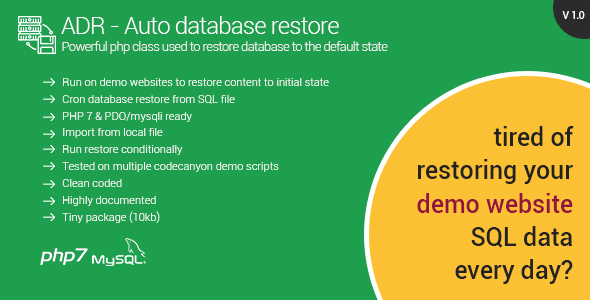 Automatic Database Restore - Restore content for your demo websites - CodeCanyon Item for Sale