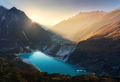 Mountain valley and lake with turquoise water at sunrise in Nepa - PhotoDune Item for Sale