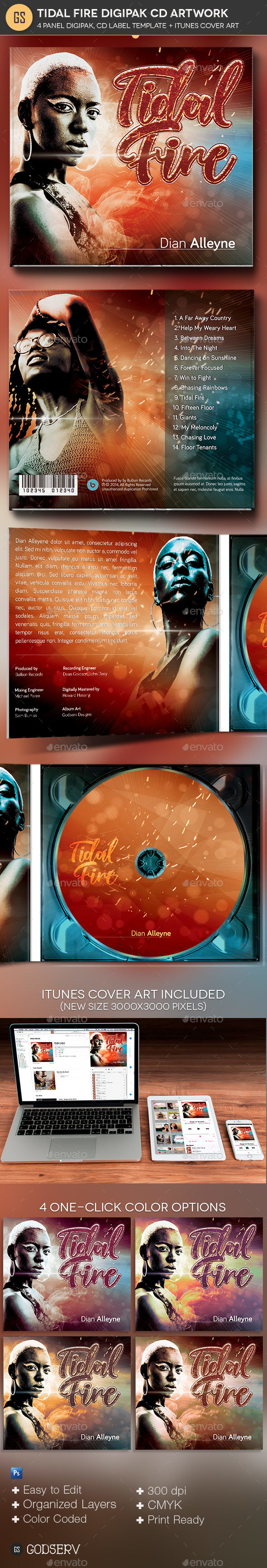 Tidal Fire 4 Panel Digipak CD Artwork Template - CD & DVD Artwork Print Templates