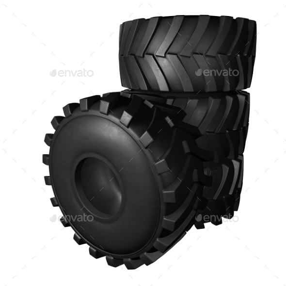 GraphicRiver Tractor Tire 3D Render 20977174