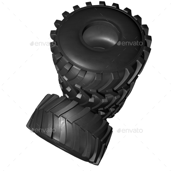 GraphicRiver Tractor Tire 3D Render 20977176
