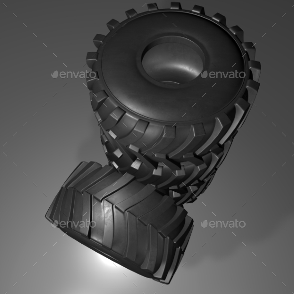 GraphicRiver Tractor Tire 3D Render 20977180