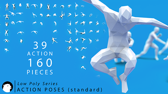 3DOcean Low Poly Series Human Action Poses Standard 20977481