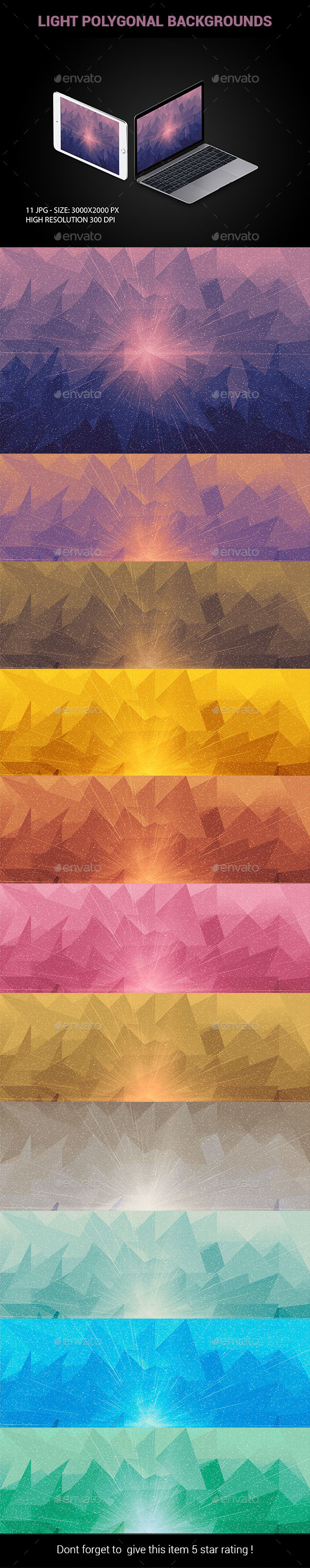 11 Light Polygonal Backgrounds - Backgrounds Graphics