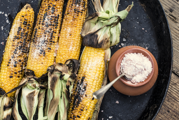 Roasted corn salted - Stock Photo - Images