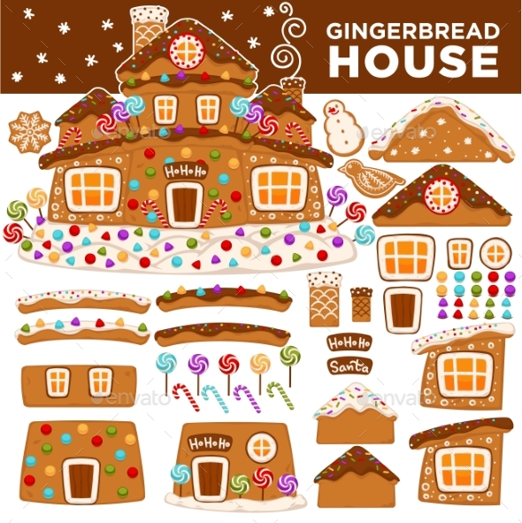 GraphicRiver Christmas Gingerbread House Constructor Cartoon 20977915