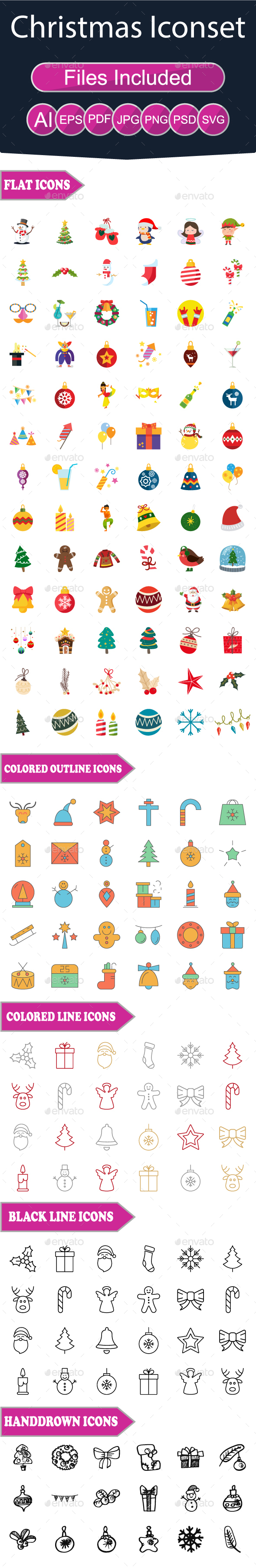 GraphicRiver Christmas Flat Icons 20978918
