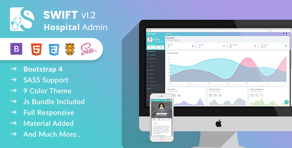 Swift Hospital - Bootstrap 4x Admin Template for Doctors & Hospitals - Admin Templates Site Templates