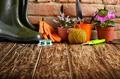 Gardening tools of shovel rake rope gloves on wooden floor - PhotoDune Item for Sale