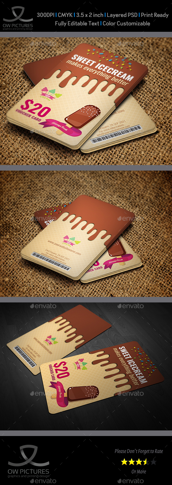 GraphicRiver Ice Cream Voucher Gift Card Template 20979270