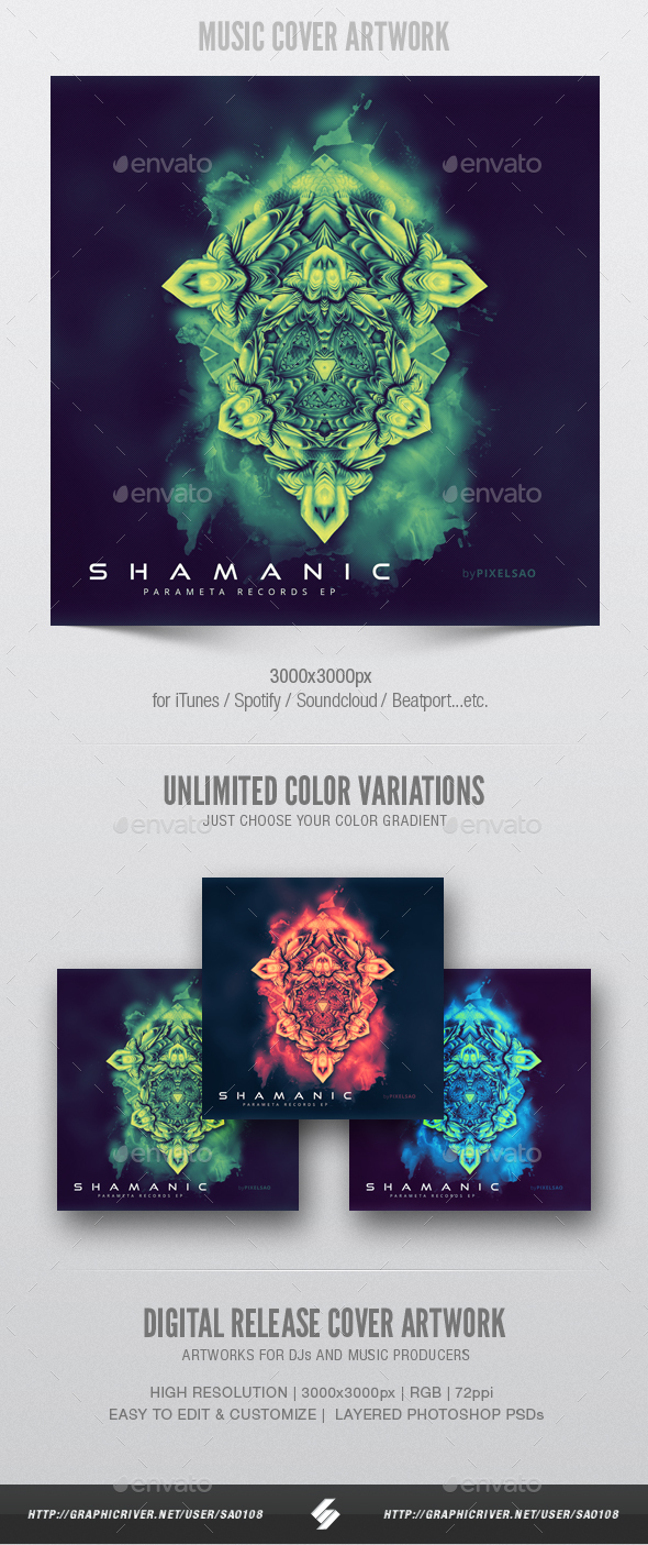 GraphicRiver Shamanic Music Album Cover Artwork Template 20979436