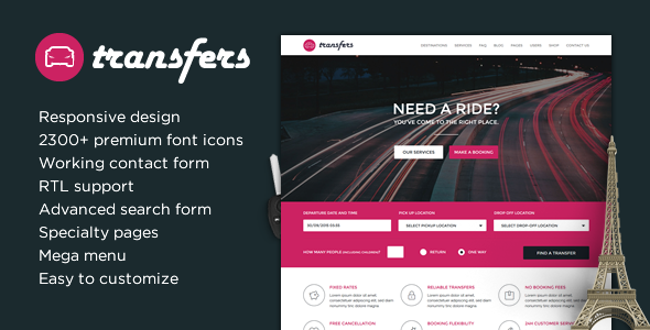 Transfers - Transport and Car Hire HTML Template - Retail Site Templates