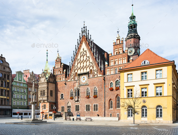 Old Town Hall on Market Square in Wroclaw city - Stock Photo - Images