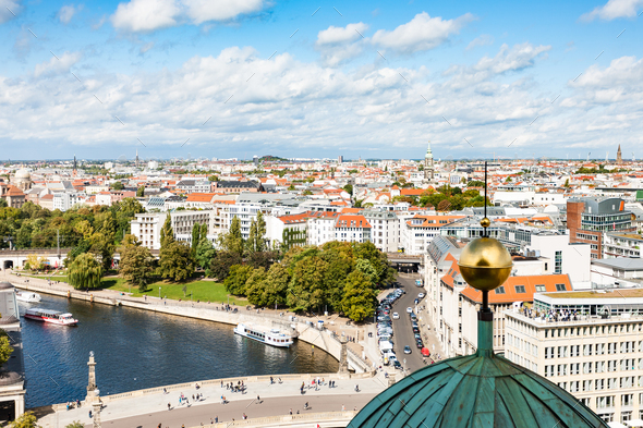 Berlin city skyline with Spree River in september - Stock Photo - Images