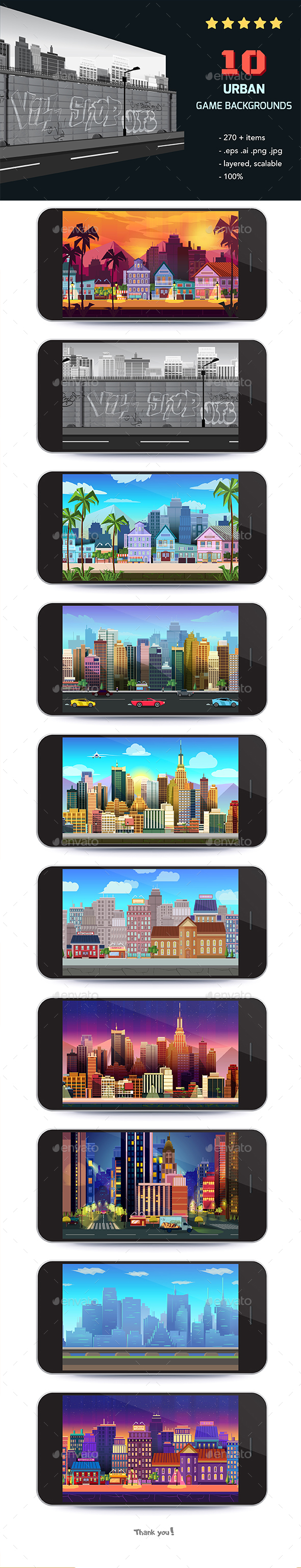 10  City Game Backgrounds - Backgrounds Game Assets
