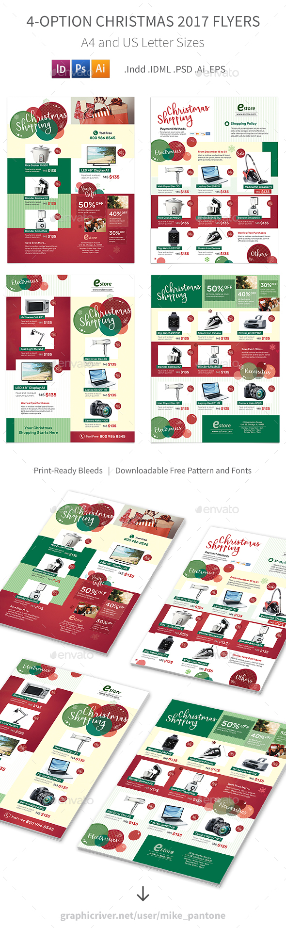 GraphicRiver Christmas 2017 Flyers 4 Options 20979713