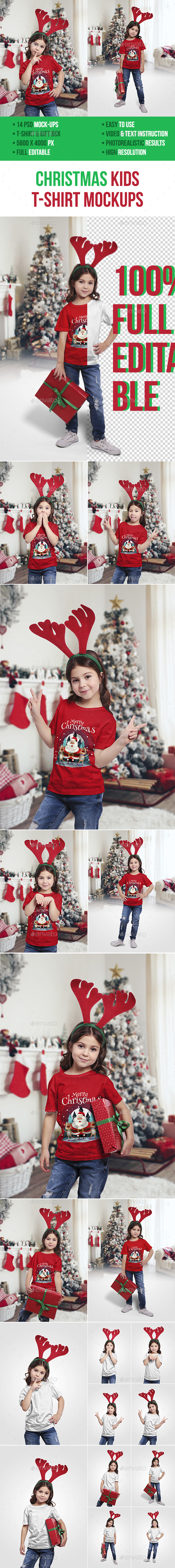 GraphicRiver Christmas Kids T-Shirt Mockups 20979750