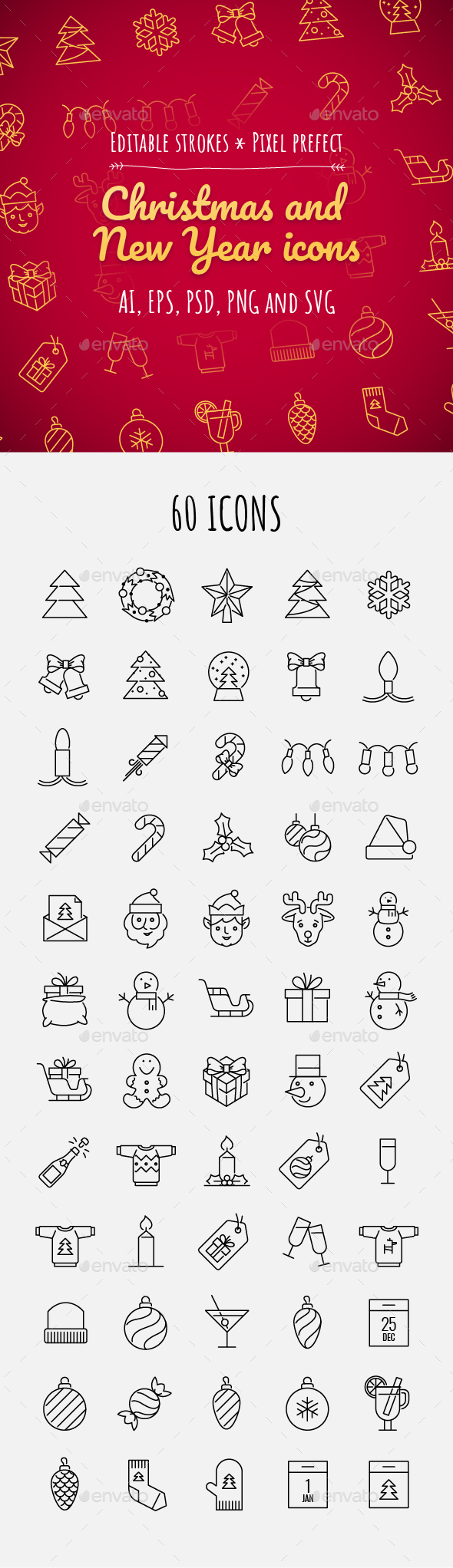 60 Christmas and New year icons - Seasonal Icons