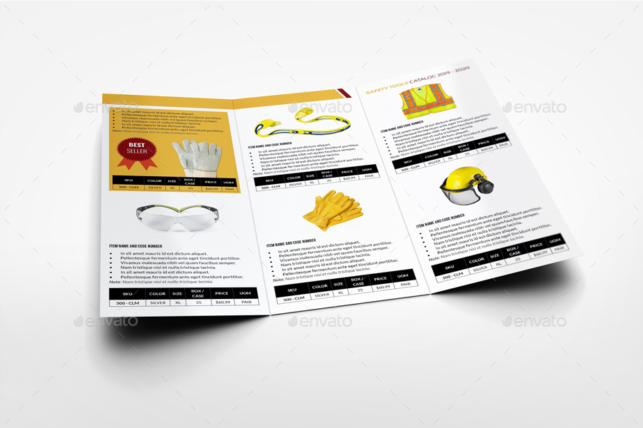 safety tools catalog tri fold brochure template by owpictures graphicriver. Black Bedroom Furniture Sets. Home Design Ideas