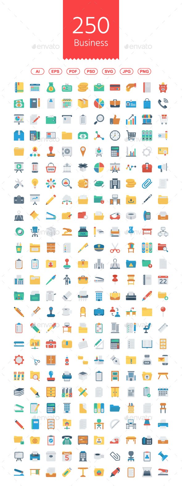 GraphicRiver Busines and Office Flat icons 20980031