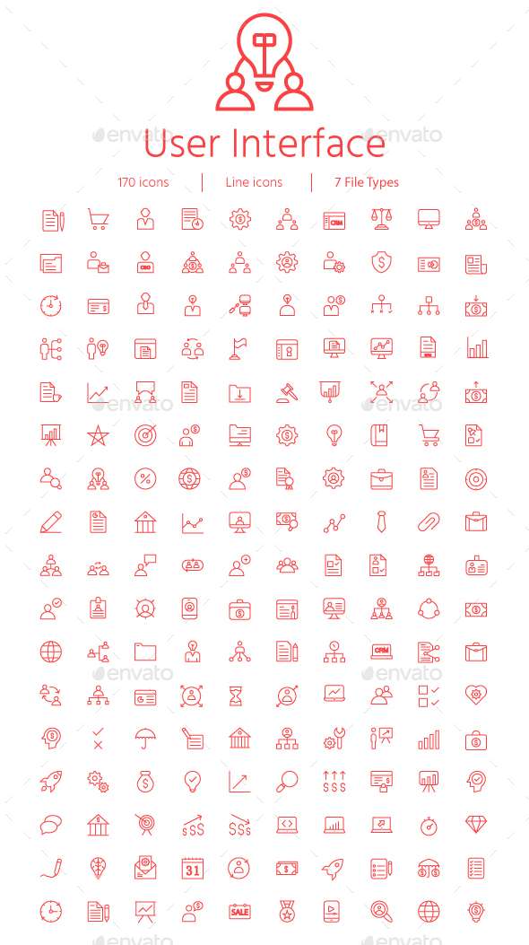 GraphicRiver User Interface Line Icons 20980073