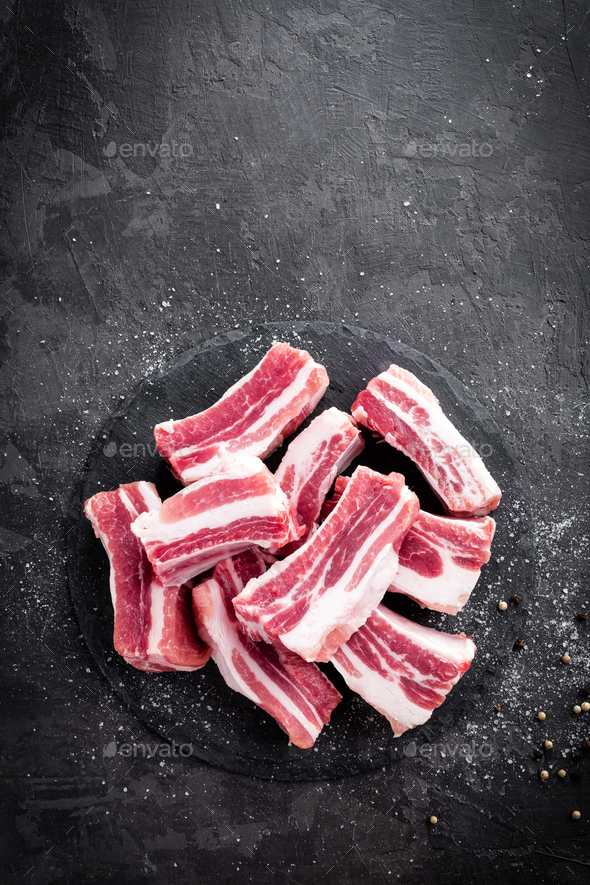 Pork ribs, raw meat - Stock Photo - Images