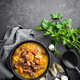 Meat stew, goulash in a cast iron pot, top view - PhotoDune Item for Sale