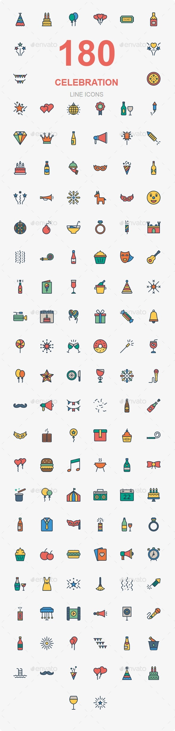 Party & Celebration Line Color - Web Icons