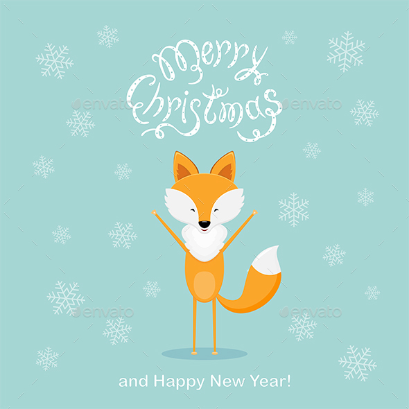 Blue Christmas Background with Happy Fox and Snowflakes - Christmas Seasons/Holidays