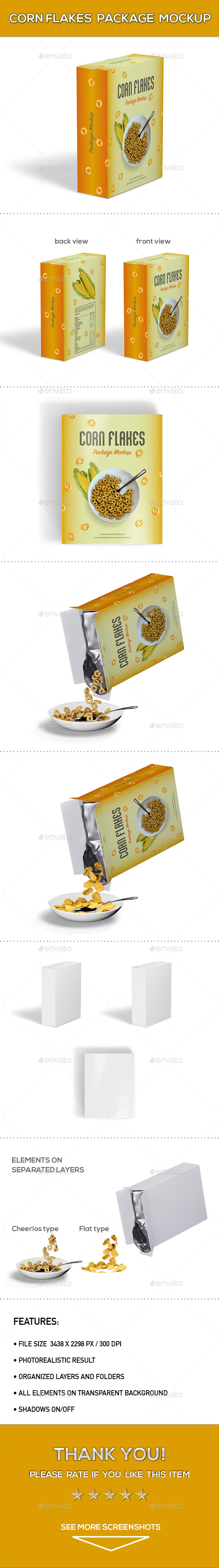 Corn Flakes Package Mock-Up - Product Mock-Ups Graphics