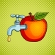 Apple Fruit with Tap Pop Art Vector Illustration - GraphicRiver Item for Sale