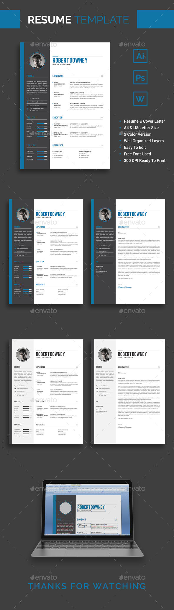 GraphicRiver Resume CV Template Robert Downey 20980352