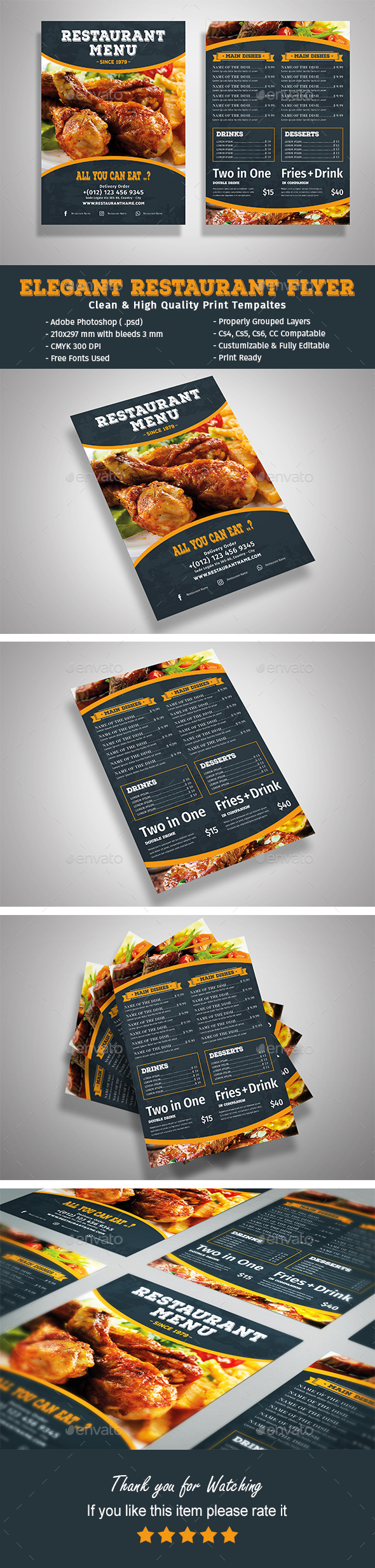 Elegant Restaurant Flyer Template - Food Menus Print Templates