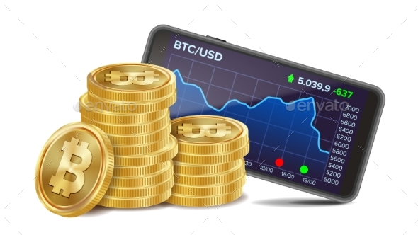 GraphicRiver Smartphone with Bitcoin Trading Chart Vector 20980387