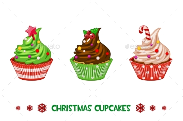 Vector Cartoon Cupcakes Merry Christmas - Christmas Seasons/Holidays