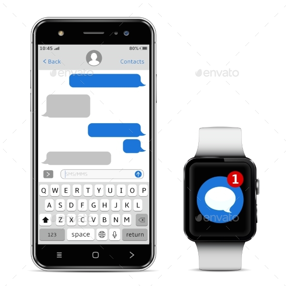GraphicRiver Smart Phone and Smart Watch with Messaging SMS App 20980418