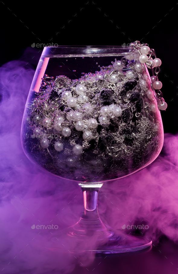 Glass with jewelry in smoke - Stock Photo - Images