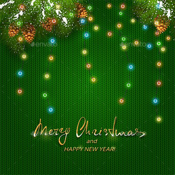 GraphicRiver Christmas Lights on Green Knitted Pattern 20980705